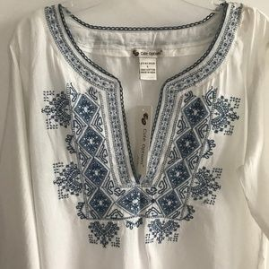 Cute Options Embroidered V-Neck Tunic